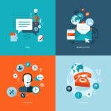 Plana symboler för rengöringsduk och mobilservice och apps Royaltyfri Foto