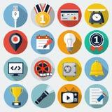 Plana symboler med lång skugga Fotografering för Bildbyråer