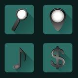 Plana symboler med skuggor Arkivfoto
