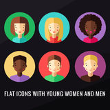 Plana symboler med vektorn för unga kvinnor och manställde in royaltyfri illustrationer