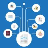Plana symboler nettoinkomst, papper, Moneybox och andra vektorbeståndsdelar Uppsättningen av symboler för inspelninglägenhetsymbo Arkivfoton