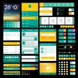 Plana symboler och beståndsdelar för mobilen app och rengöringsdukdes Arkivfoto