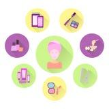 Plana symboler på temat av omsorgen av en kvinna _ Arkivfoton