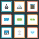 Plana symboler pengar, juvelädelsten, redovisning och andra vektorbeståndsdelar Uppsättningen av symboler för finanslägenhetsymbo Royaltyfri Bild