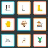 Plana symboler skärare, odlare, växt och andra vektorbeståndsdelar Uppsättning av att arbeta i trädgården plana symboler Arkivbild