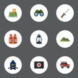 Plana symboler som jagar skäraren, kullen, skeppet och andra vektorbeståndsdelar Uppsättningen av symboler för lägerlägenhetsymbo Arkivfoto
