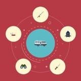 Plana symboler som jagar skäraren, pennkniven, skeppet och andra vektorbeståndsdelar Fotografering för Bildbyråer
