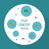 Plana symboler sparkcykel, fartyg, lyxiga auto och andra vektorbeståndsdelar Uppsättningen av symboler för transportlägenhetsymbo Arkivbilder