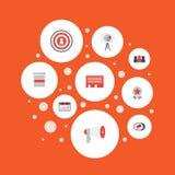 Plana symboler television, övervakning, statistik och andra vektorbeståndsdelar Uppsättning av symboler för marknadsföringslägenh Royaltyfri Foto