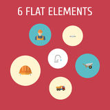 Plana symboler vattenkran, skåpbil, arbetare och andra vektorbeståndsdelar Uppsättning av konstruktionslägenhetsymboler Fotografering för Bildbyråer