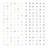Plana symbolsdesigner, symbolsuppsättning Fotografering för Bildbyråer