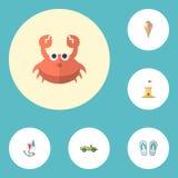 Plana symbolshäftklammermatare, cancer, slott och andra vektorbeståndsdelar Uppsättningen av symboler för säsonglägenhetsymboler  royaltyfri illustrationer