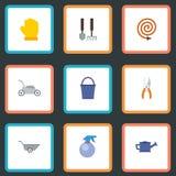 Plana symbolshjälpmedel, skottkärra, Pruner och andra vektorbeståndsdelar Uppsättningen av symboler för trädgårdsnäringlägenhetsy Arkivbilder