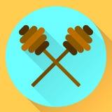 Plana symbolspinnar för vektor för honung Royaltyfri Fotografi