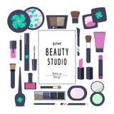 Plana symbolsskönhetsmedel och makeup vektor illustrationer