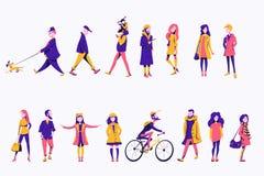 Plana tecken royaltyfri illustrationer