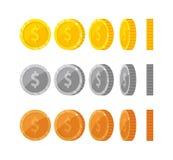 Plana tecknad filmguld- och silvermynt med dollarsymbo stock illustrationer