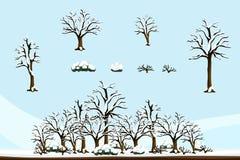 Plana tecknad filmväxter - vinteruppsättning A Arkivfoto