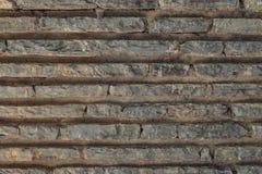 Plana tegelstenar med cement texturerar, stenar yttersida Fotografering för Bildbyråer