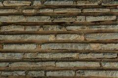 Plana tegelstenar med cement texturerar, stenar yttersida Royaltyfri Fotografi