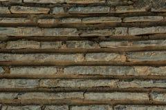 Plana tegelstenar med cement texturerar, stenar yttersida Royaltyfria Foton