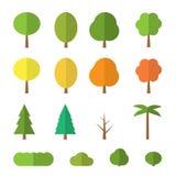Plana träd för vektor stock illustrationer