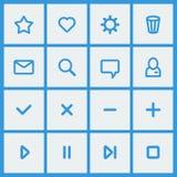 Plana UI-designbeståndsdelar - uppsättning av grundläggande rengöringsduksymboler Arkivfoton