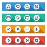Plana UI-designbeståndsdelar - uppsättning av grundläggande rengöringsduksymboler Royaltyfria Bilder