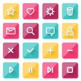 Plana UI-designbeståndsdelar - uppsättning av grundläggande rengöringsduksymboler Arkivbilder