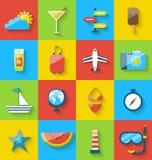 Plana uppsättningsymboler för modern design av loppet på ferie reser Arkivbilder