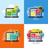 Plana vektorbegrepp av rengöringsdukdesignen, affär, socialt massmedia, SEO Arkivfoton