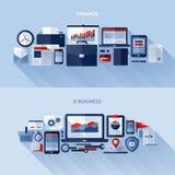 Plana vektordesignbeståndsdelar av finans och e-affären stock illustrationer