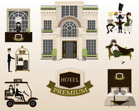Plana vektordesignbeståndsdelar av hotellservice vektor Royaltyfria Foton