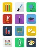 Plana vektorsymboler för skola Fotografering för Bildbyråer