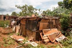 Planaltina, el Brasil 26 de enero de 2019 Condiciones de vivienda pobre dentro del Brasil, foto de archivo