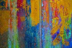 Plance di legno del fondo con rosso giallo blu scheggiato di colore Immagine Stock Libera da Diritti