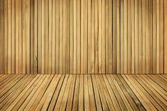 Plance di legno della parete e del pavimento, stanza imbarcata dalla vecchia plancia di Brown fotografia stock