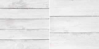 Plance di legno dipinte bianco stabilito, ripiano del tavolo, superficie del pavimento di parquet Immagine Stock