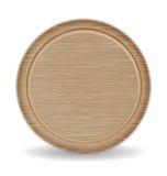 Planche à découper de cercle, plateau de pizza en bois de chêne de Brown foncé Image stock