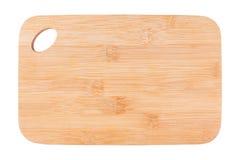 Planche à découper de la forme rectangulaire en bambou, nouveau panneau sur le fond blanc photos libres de droits