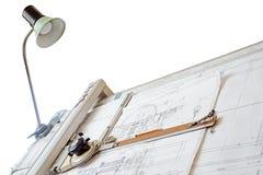 Planche à dessin sur un fond blanc Image stock