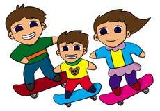 Planche à roulettes de famille Image libre de droits