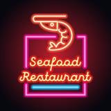 Planche d'enseigne au néon de restaurant de fruits de mer Vecteur photos stock