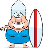 Planche de surf de femme de bande dessinée Photographie stock libre de droits