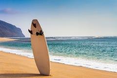 Planche de surf sur la plage sauvage Image libre de droits