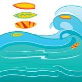 Planche de surf sur la vague illustration libre de droits