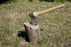 Planche el hacha con una manija de madera en una cubierta del árbol Fotos de archivo
