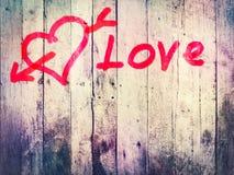 Planche en bois avec le texte d'amour Photos libres de droits