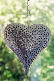 Planche la ejecución del corazón en una cadena en un fondo de árboles verdes Fotos de archivo