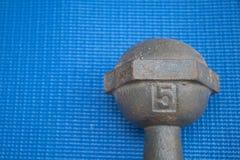 Planche la pesa de gimnasia 5 kilogramos en la estera azul de la yoga Imagenes de archivo